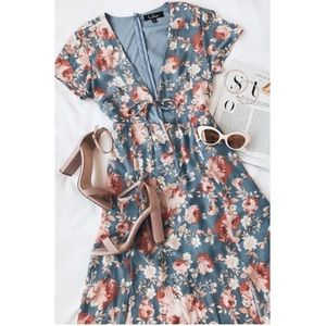 Lulu's Maxi Dress Blue Floral Best Day Of My Life